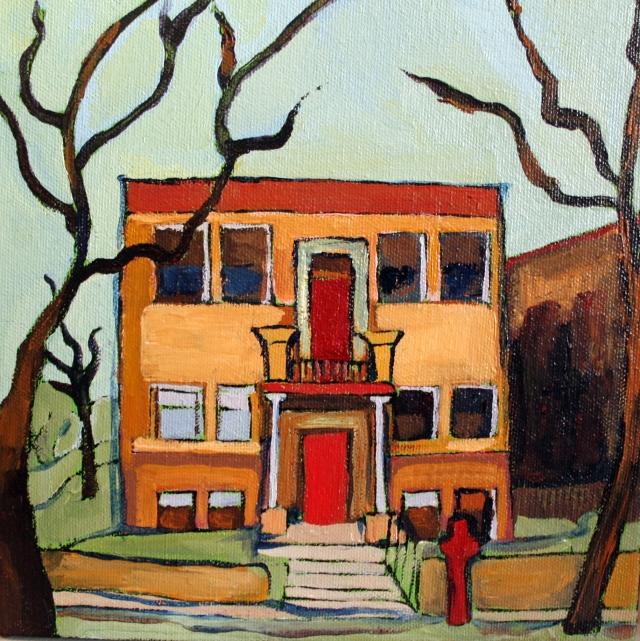Powderhorn Brownstone, acrylic on canvas 6x6 2013