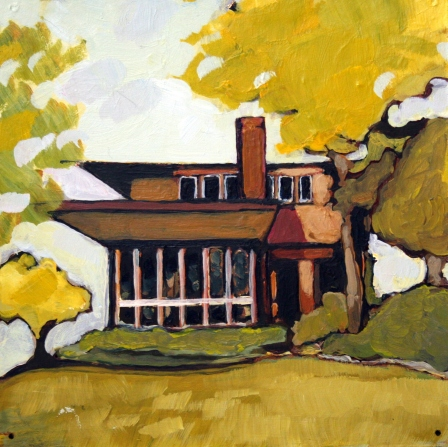 Purcell-Cutts House, Minneapolis. Acrylic and gold foil on panel board, 6 x 6, 2013.