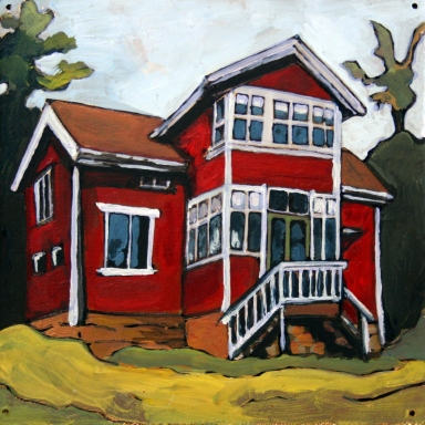 Red Country House, acrylic and gold foil on wood panel, 6 x 6, 2013.